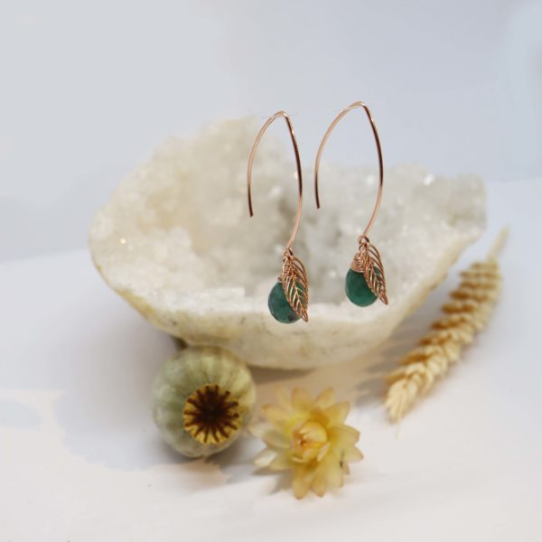 boucles d'oreilles or rose feuille