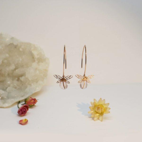 boucles d'oreilles or jaune libellule