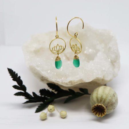 boucles d'oreilles or jaune lotus