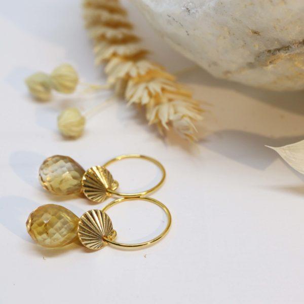 boucles d'oreilles or jaune soleil
