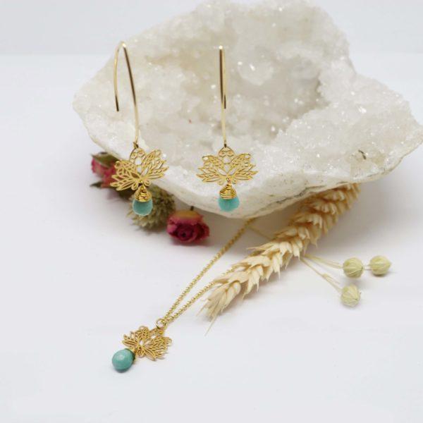 collier or jaune lotus