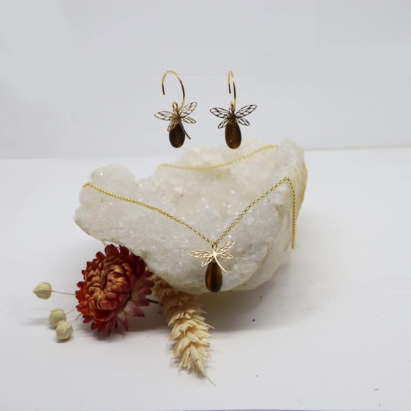 collier or jaune libellule