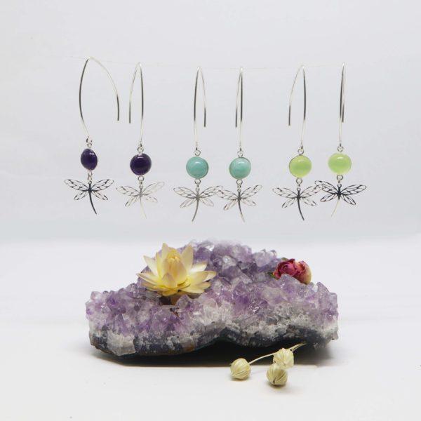 boucles d'oreilles argent grande pierre