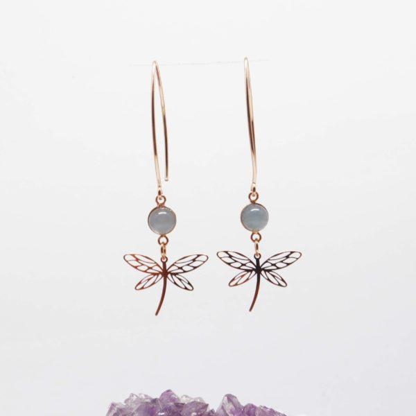 boucles d'oreilles libellule or rose