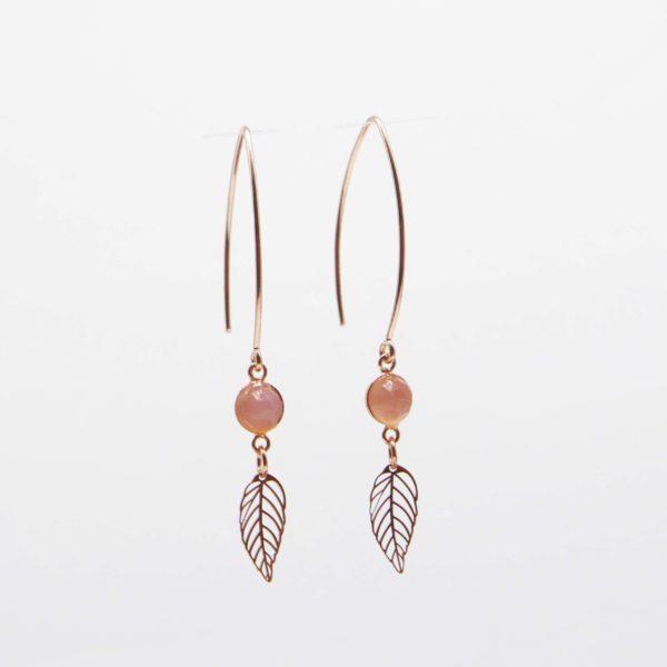 boucles d'oreilles feuille or rose