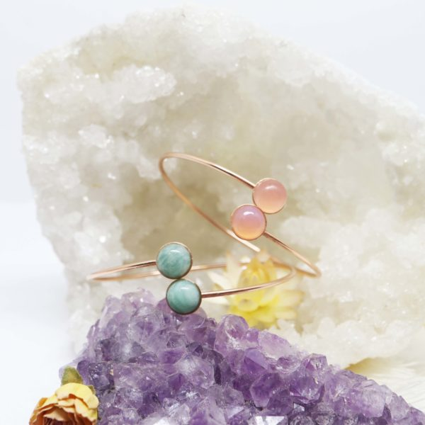 bracelet rigide or rose grande pierre