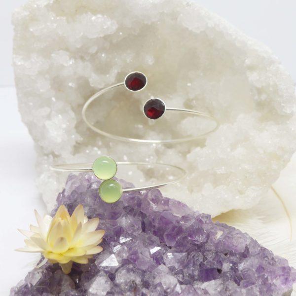 bracelet rigide argent grande pierre