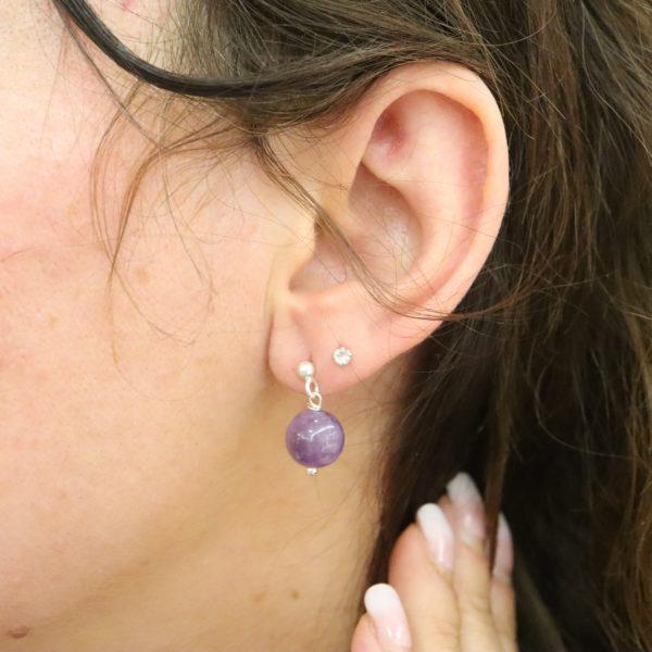 Boucles d'oreilles puces pierre ronde